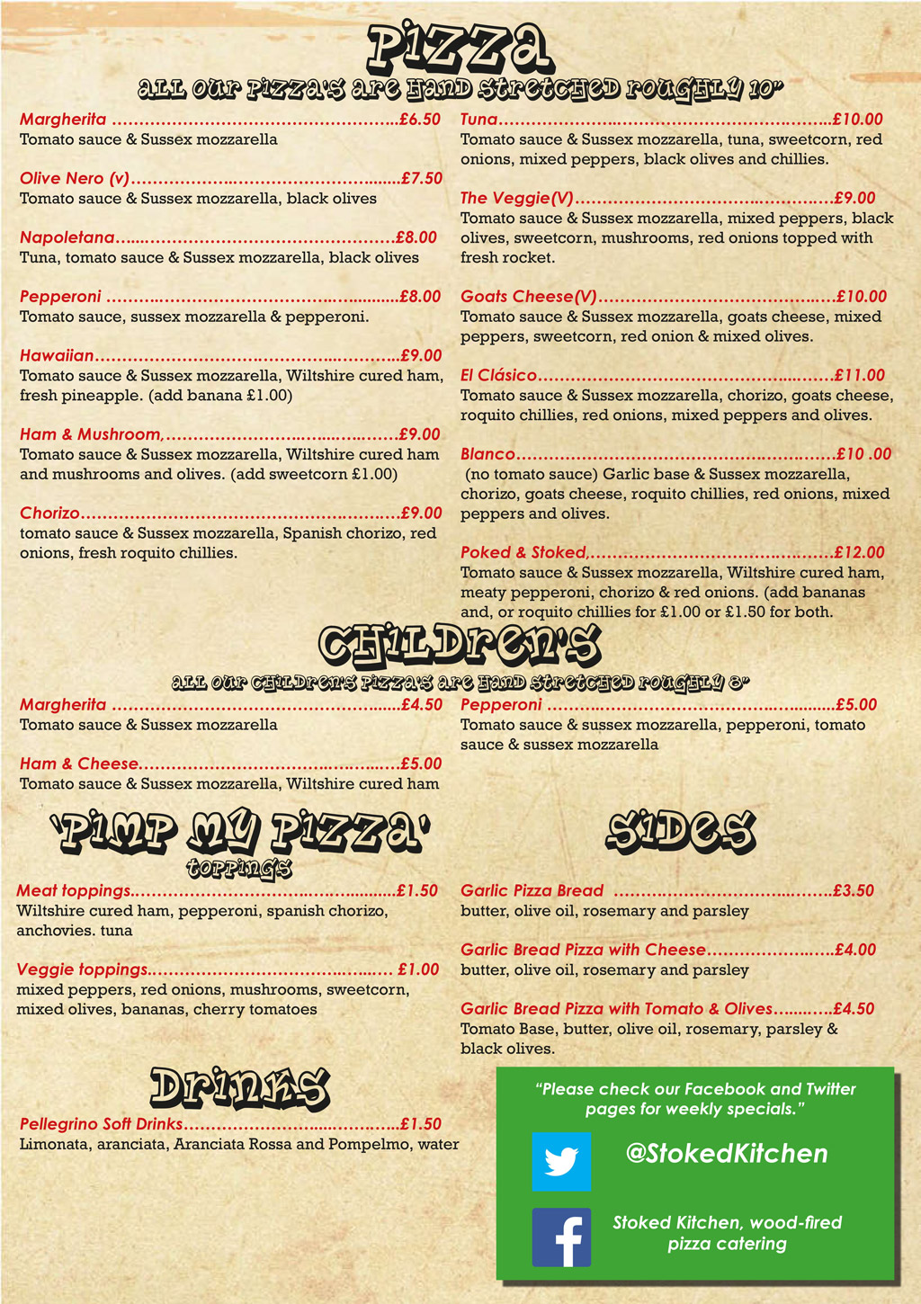 A1 Pizza Menu New Stoked Kitchen